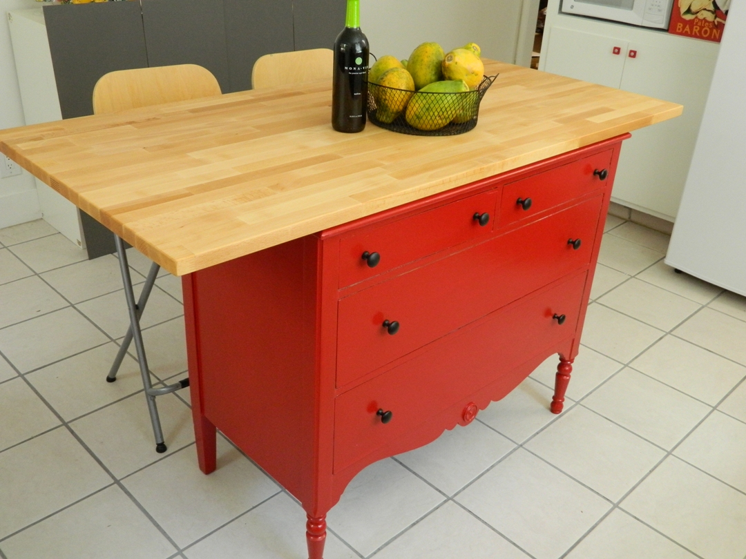 Ikea Mandal Storage Bed Review ~ little corner house Dresser + Table top = Kitchen island