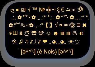 ▼ Símbolos Efeitos Caracteres Descolado