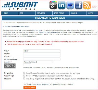 Form Pendaftaran Blog ke 70 Search Engine di Submitexpress