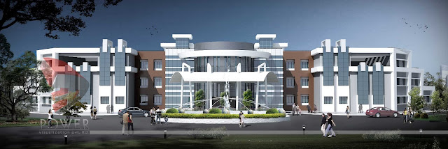 architectural 3d visualization,Modern Hospital Building design