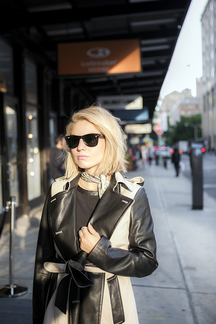 Golden hour, Ann Taylor leather trench coat, Liberty of London scarf, Ray-Ban Wayfarers