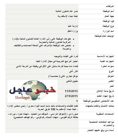 """اعلان وظائف """" هيئة ميناء الأسكندرية """" للمؤهلات العليا والتقديم والاوراق حتى 27 / 9 / 2015"""