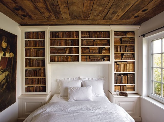 david eastons bedroom via new york social diary - Bedroom Bookshelves