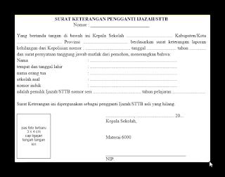 Surat Administrasi Pengganti Ijazah/STTB Yang Rusak Atau Hilang 2016