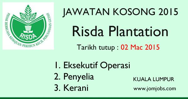 Jawatan Kosong RISDA Plantation Mac 2015