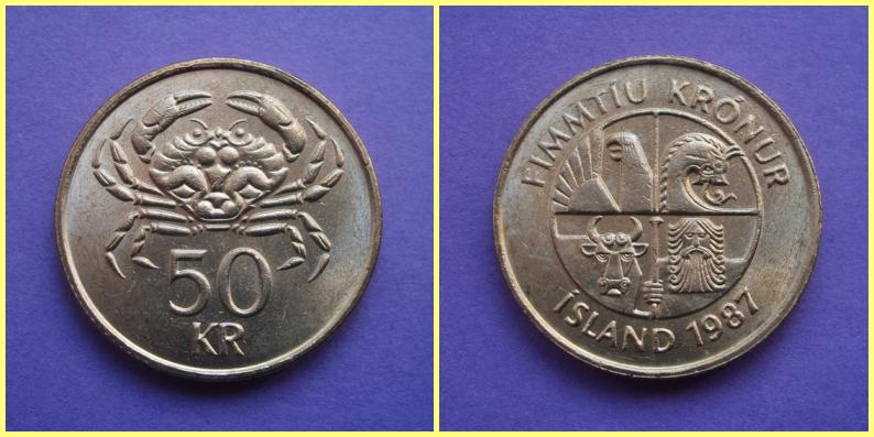 Moneda 50 Coronas Islandia