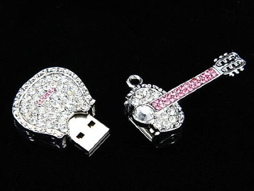 Crystal Necklace Guitar Pendrive