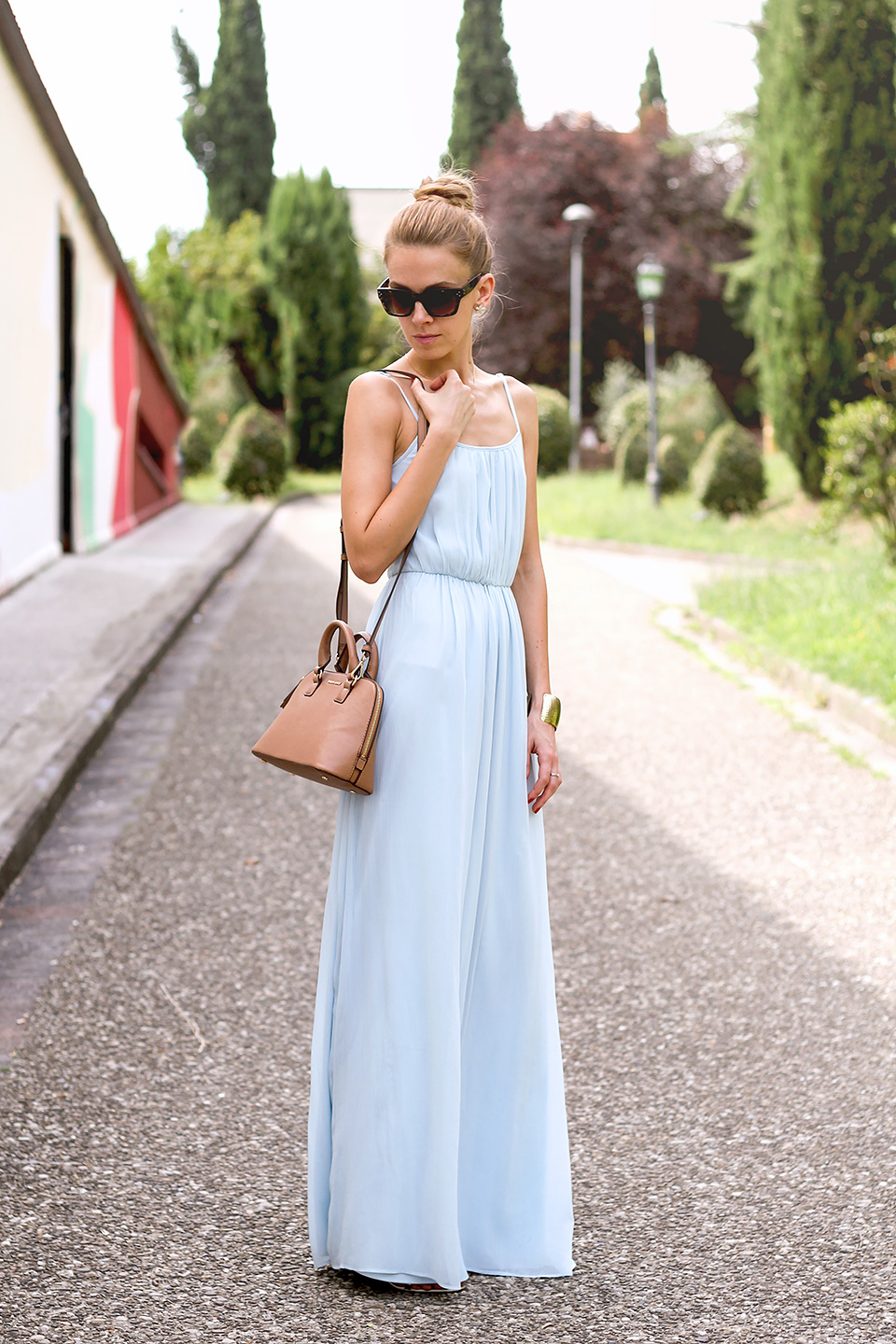 baby blue maxi dress, mini crossbody bag, summer outfit, high bun