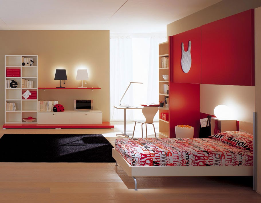 Decorating-Room-Children-Bedroom-Colors-Red-Minimalist