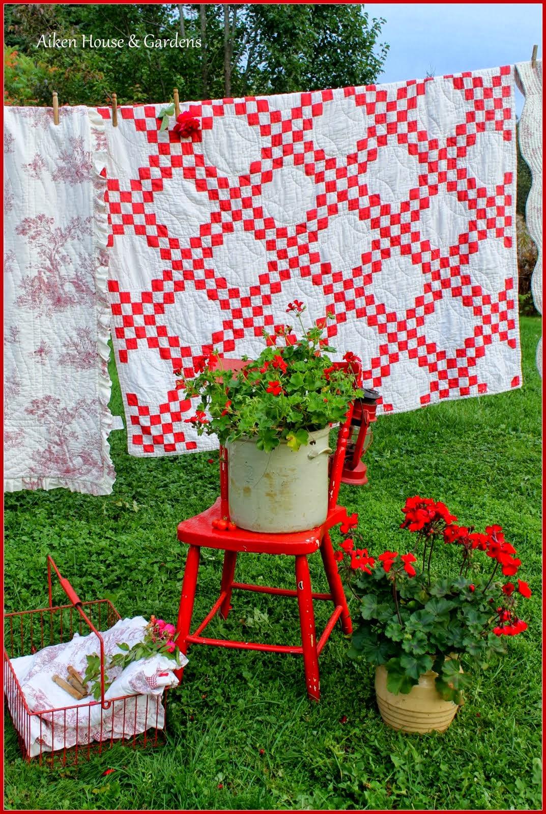 Aiken house gardens red white vintage laundry day for Aiken house