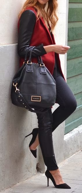 Burgunday Blouse With Leather Leging,Black Leather Bag And Black Heel