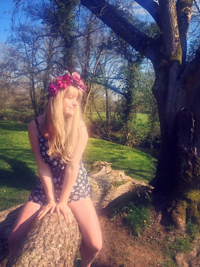 ootd, primark playsuit, floral, crown and glory, hatherleigh, devon,