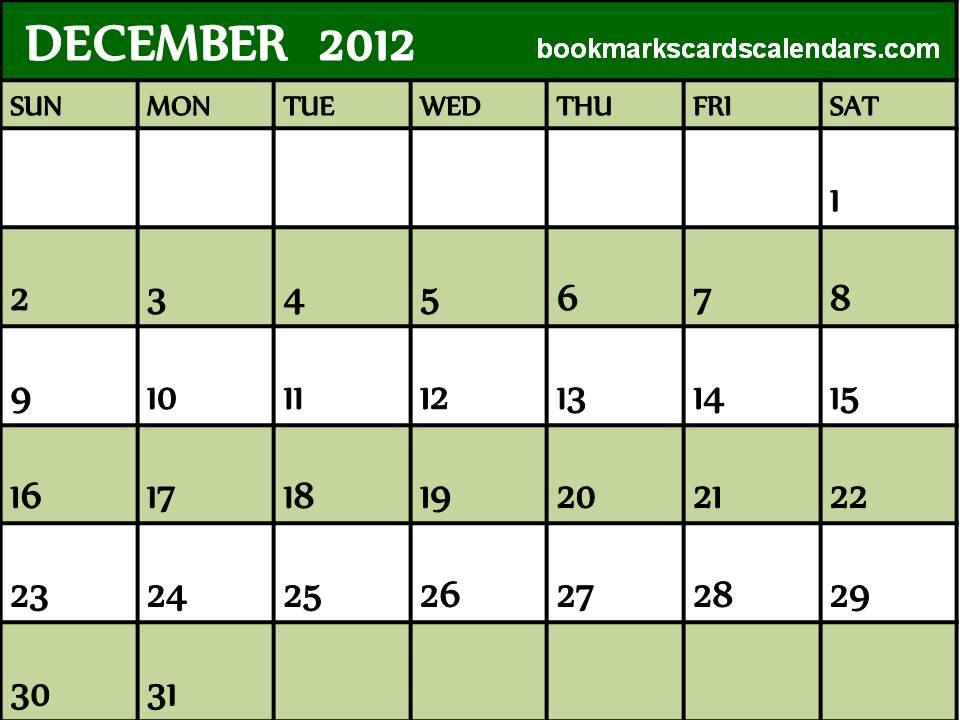 December 2012 Calendar Printable PDF