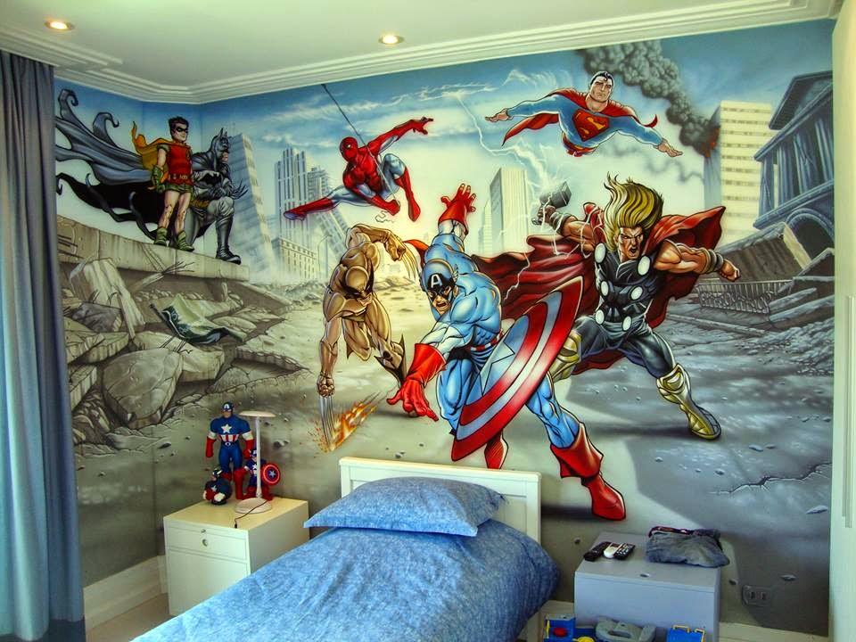 Fernando Pow Pintura em Quarto de Bebê e Criança - Heróis Marvel e DC