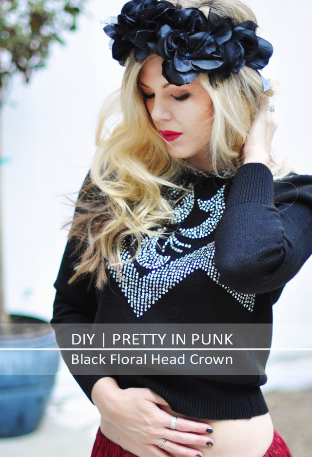 pretty punk princess black floral head crown DIY