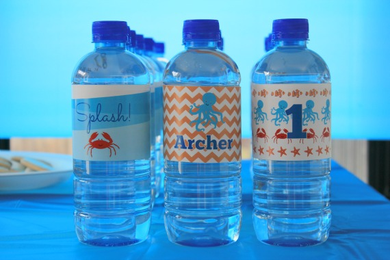 Personalised Under the Sea Party Water Bottle Labels by Love That Party. www.lovethatparty.com.au