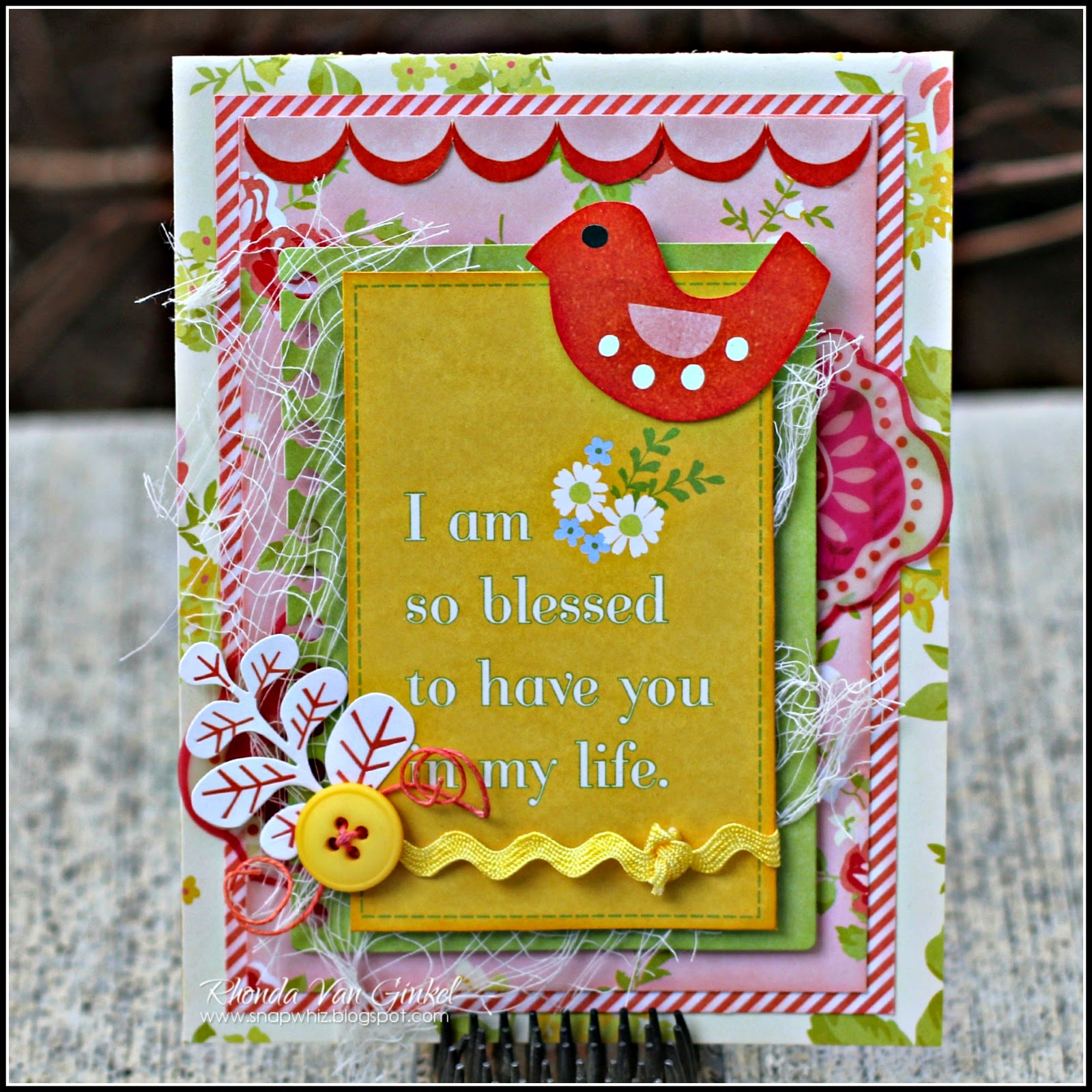 I am So Blessed card featuring SEI papers designed by Rhonda Van Ginkel as Guest Designer for SEI