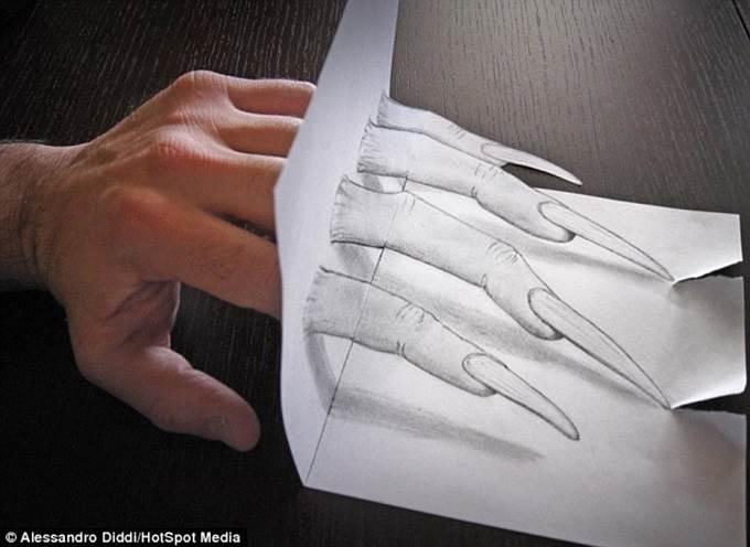 lukisan 3d tangan hantu