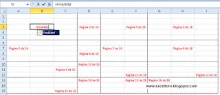 Número de página en una celda de Excel.