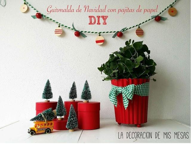 Guirnalda de navidad con pajitas de papel y sorteo - Decoracion navidad papel ...