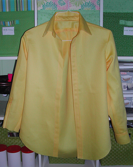 Complete with red and pink thread, one inside-out sleeve and placket ...