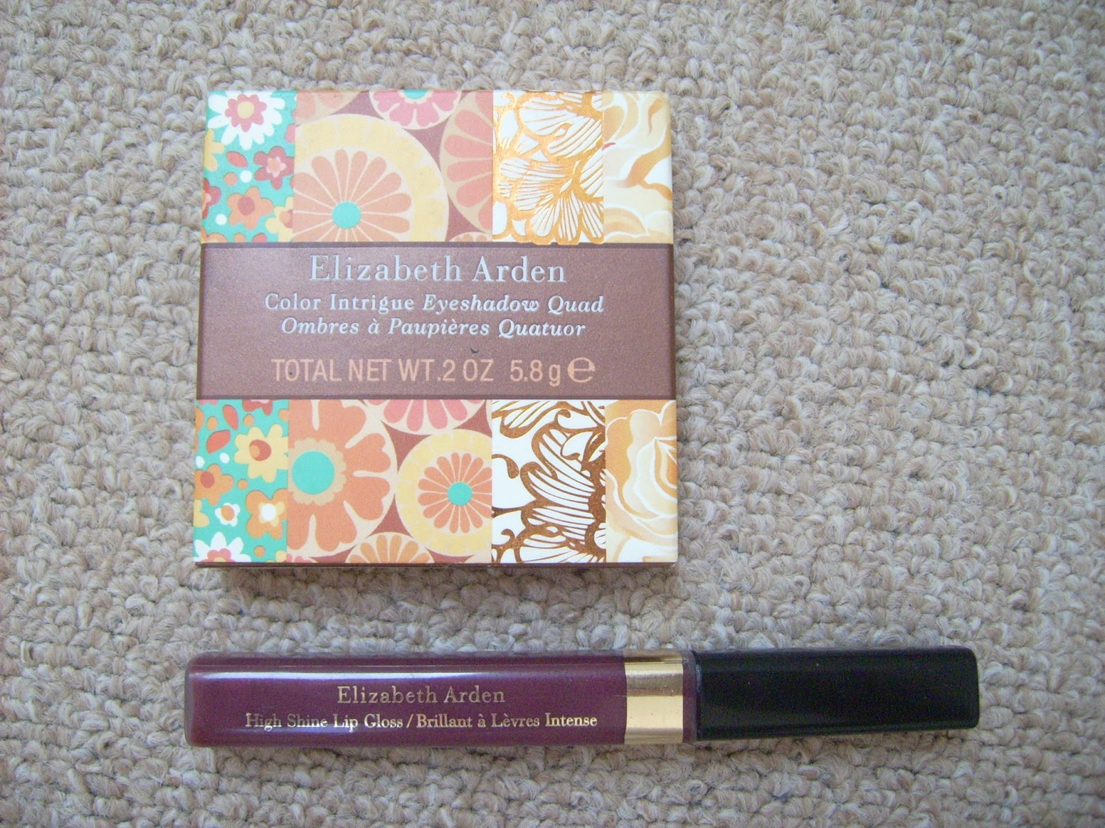 Elizabeth Arden Color Intrigue Eyeshadow Quad Golden Lilac, Elizabeth Arden High Shine Lip Gloss Raspberry Glace
