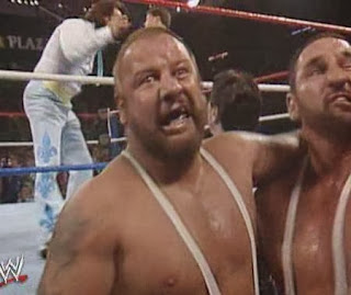 WWF / WWE: Wrestlemania 5 - The Bushwhackers celebrate their victory over The Fabulous Rougeaus