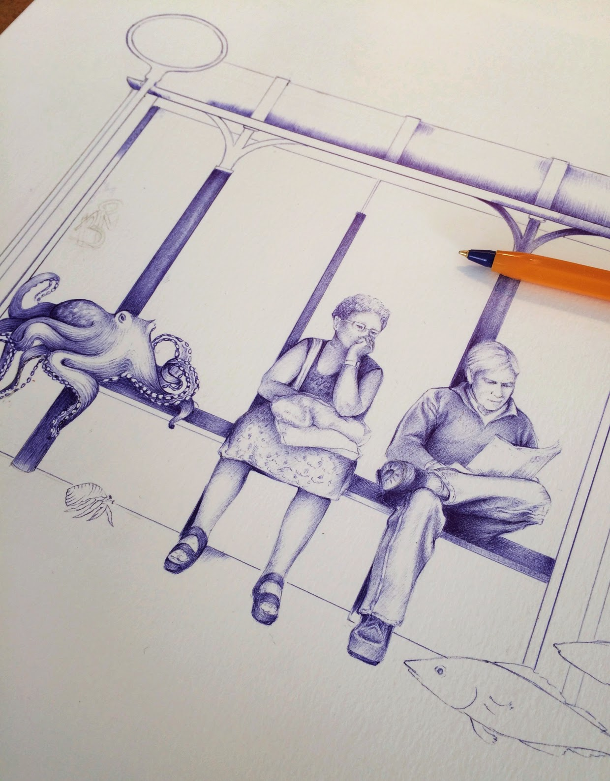 10-Waiting-for-Santa-Maria-Dani-Loureiro-Zero-Gravity-Ballpoint-Pen-Drawings-www-designstack-co