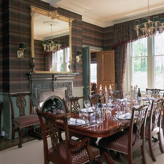 Eye for design decorating with plaid covered walls for Dining room interior design ideas uk