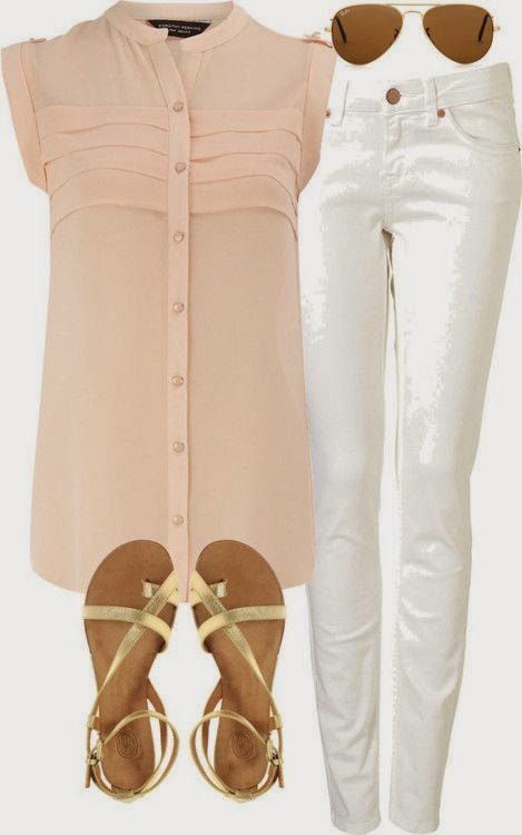 white skinny jeans peach sheer blouse gold sandals . . . such a cute little classy outfit.
