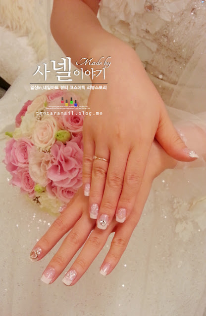 Wedding nail art for Bride! Soft white glitter gel polish Honey Pot