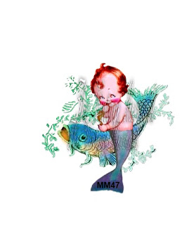 merboy merbaby playing with fish on fabric block by vintagemermaidsfabricblocks.com
