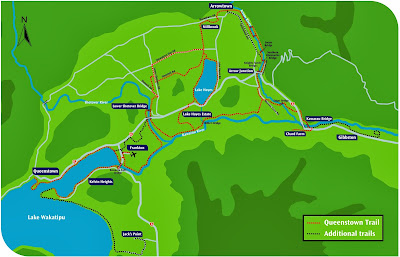 Mapa das terilhas de Queenstown