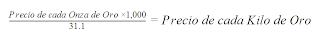 Fórmula onza de Oro