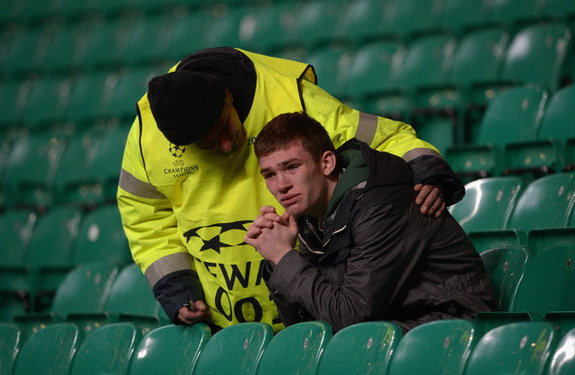 Celtic fan consoled by steward after Juventus loss