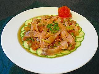 Salade de courgettes au saumon fumé