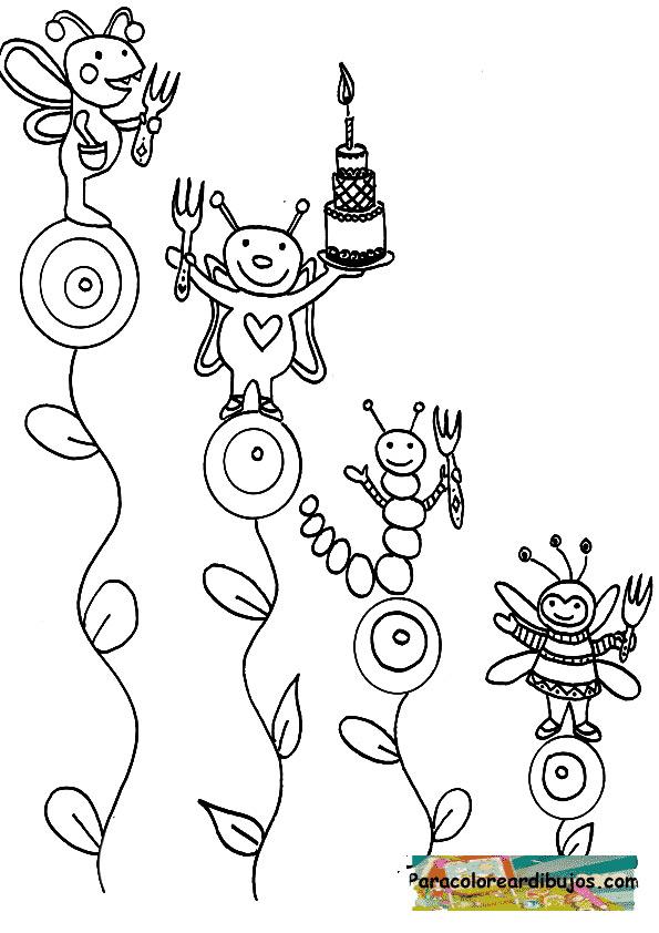 insectos en fiesta de cumpleaños para colorear