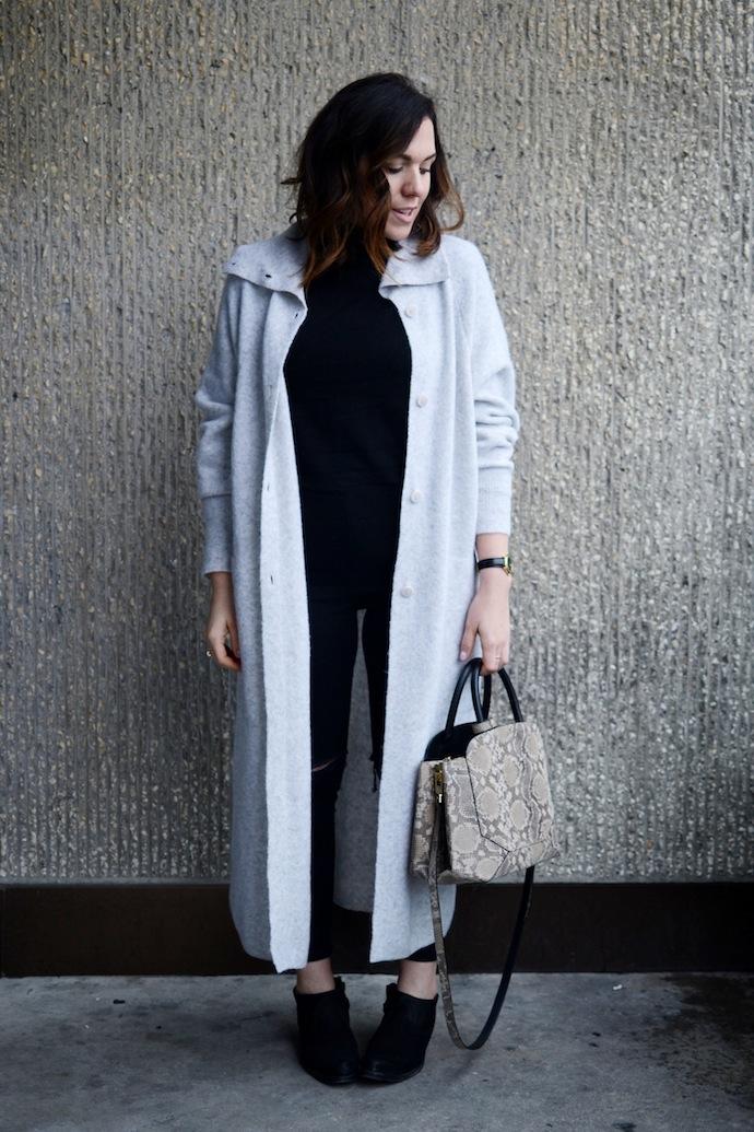 Vancouver blogger Aritzia Babaton Silvano cardigan coat and snake print Auxilary Bega handbag