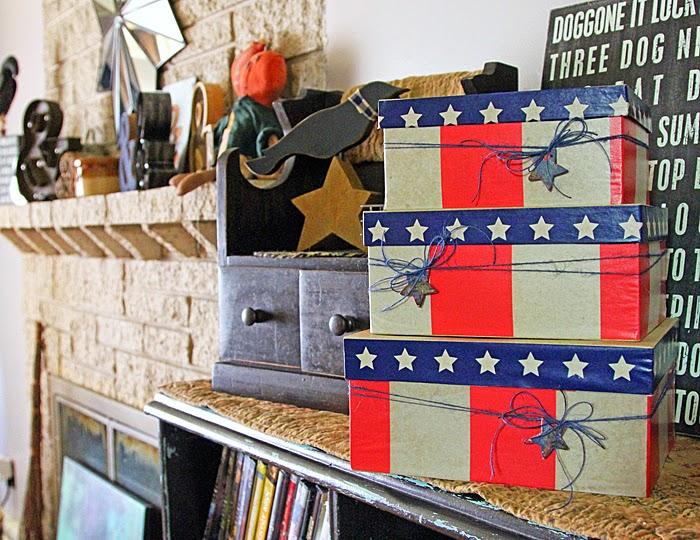 Patriotic Home Decor with Paper Mache boxes and DIY Decor