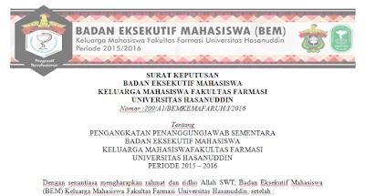 Surat Keputusan BEM KEMAFAR-UH tentang Pengangkatan Penanggung Jawab Sementara, 18 Januari 2016