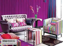 rumahku-syurgaku: dekorasi ruang tamu berwarna purple