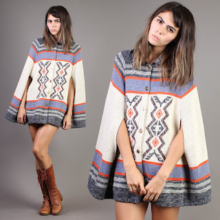 luxie vintage winter fall autumn cape hippie striped hippy hippie bohemian boho sweater