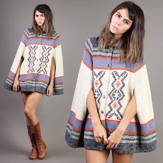 luxie vintage winter fall autumn cape hippie striped hippy hippie bohemian boho sweater