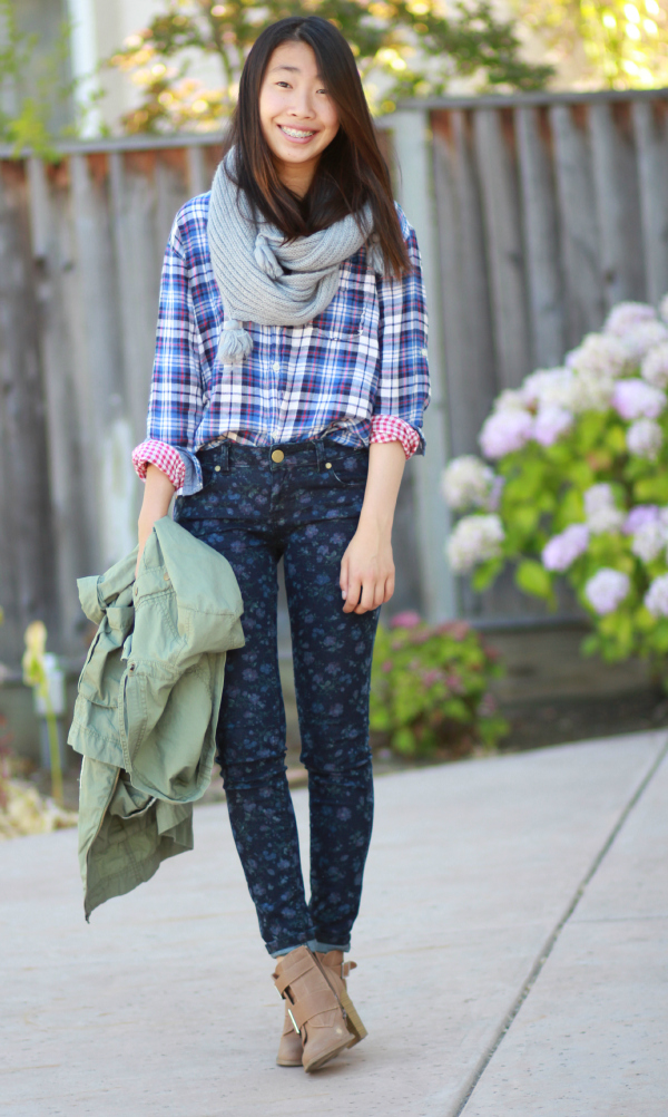 floral skinny jeans plaid shirt chunky scarf