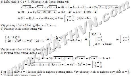 phương trình vô tỉ có lời giải ôn thi đại học