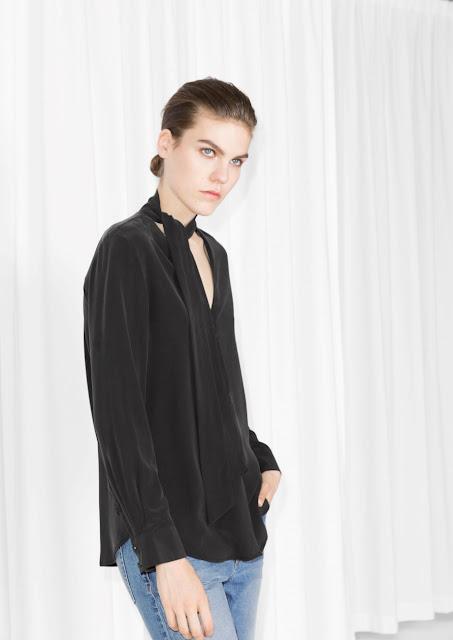 black tie neck blouse, black silk blouse, stories silk blouse,
