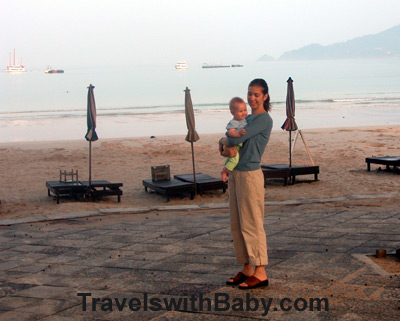 Phuket sunrise with baby, Thailand, Travels with Baby