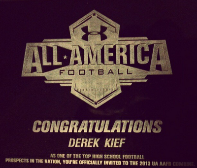 Derek Kief invited to 2013 Under Armour All-American Football Combine