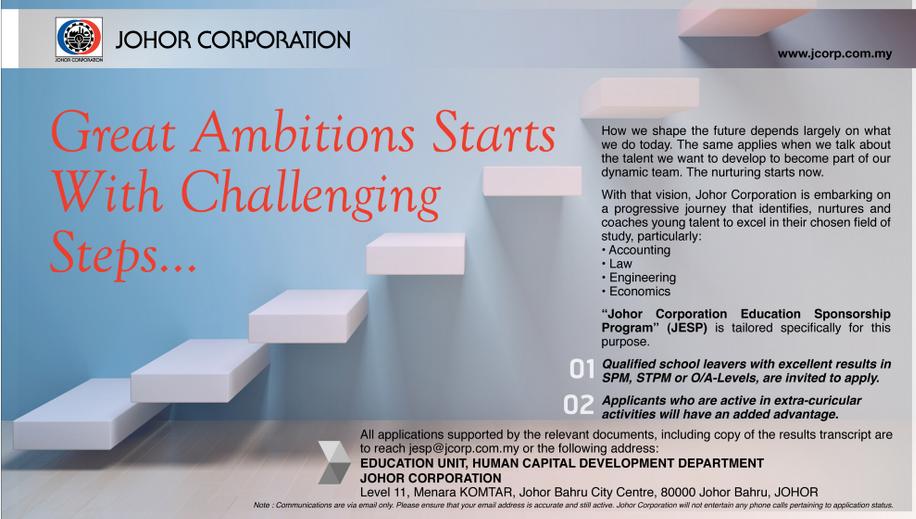 Permohonan Biasiswa Johor Corporation Education Sponsorship