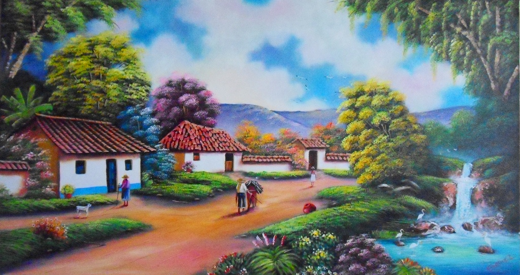 Im genes arte pinturas cuadros decorativos paisajes al - Paisajes de casas ...